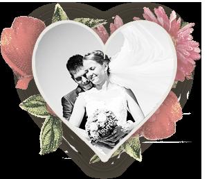 Brautpaar in Herzrahmen